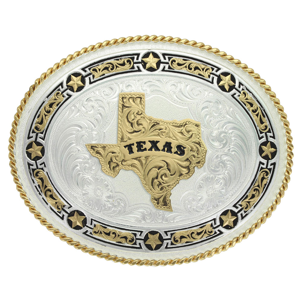 Star Links Western Belt Buckle with State of Texas