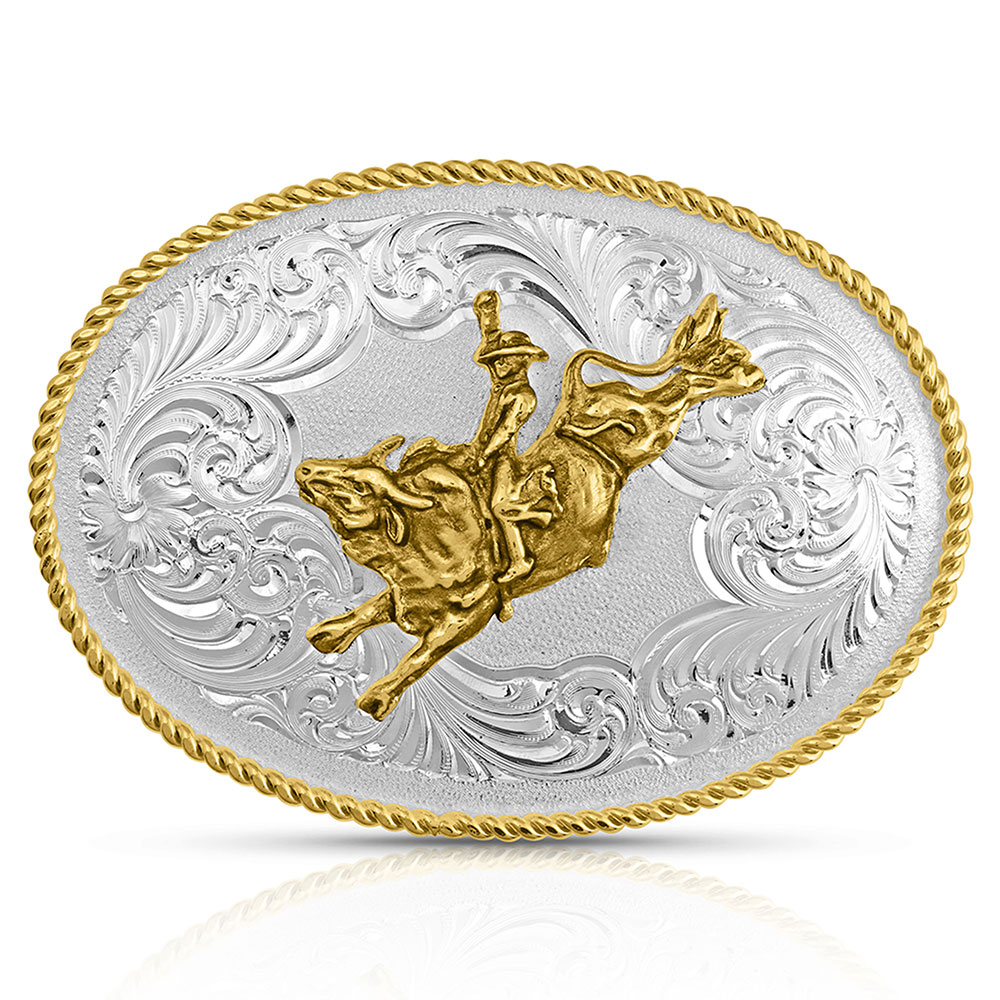 Gold Rope Trimmed Engraved Buckle with Bull Rider