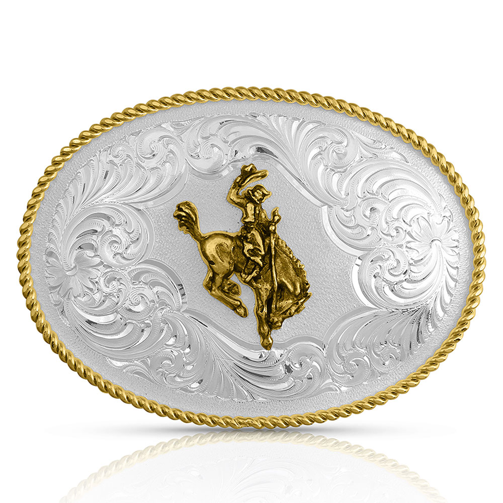 Gold Rope Trimmed Engraved Buckle with Saddle Bronc Rider