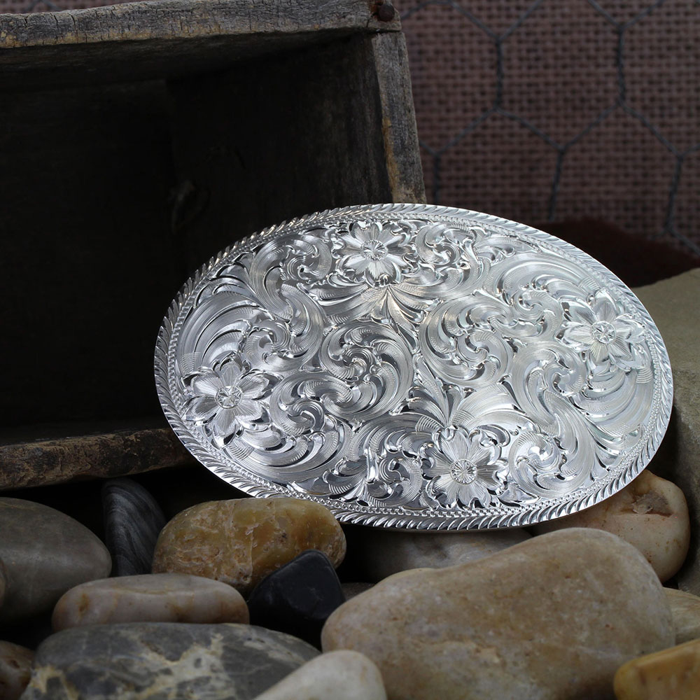 Oval Silver Engraved Western Belt Buckle with Etched Trim