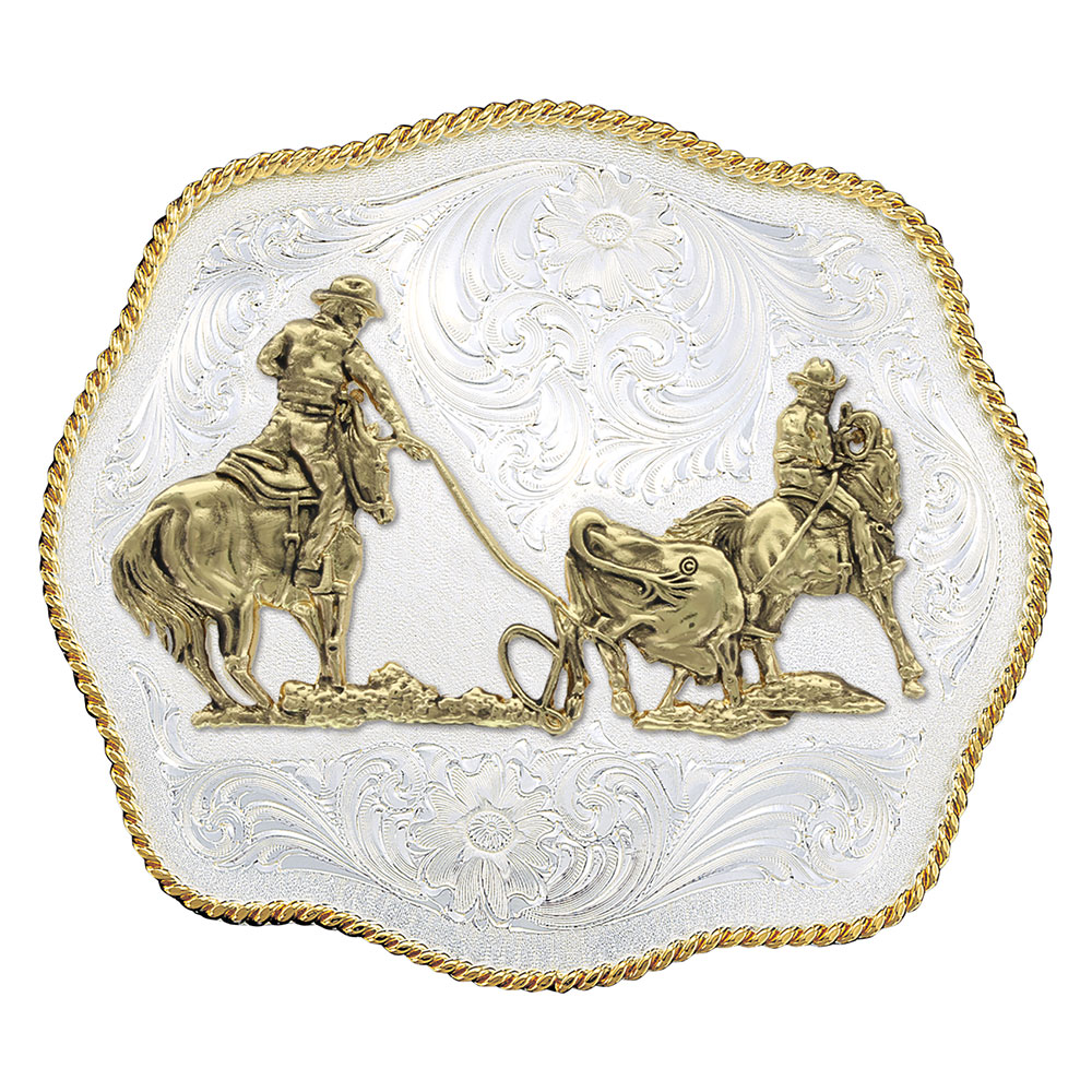 Scalloped Western Belt Buckle with Team Ropers