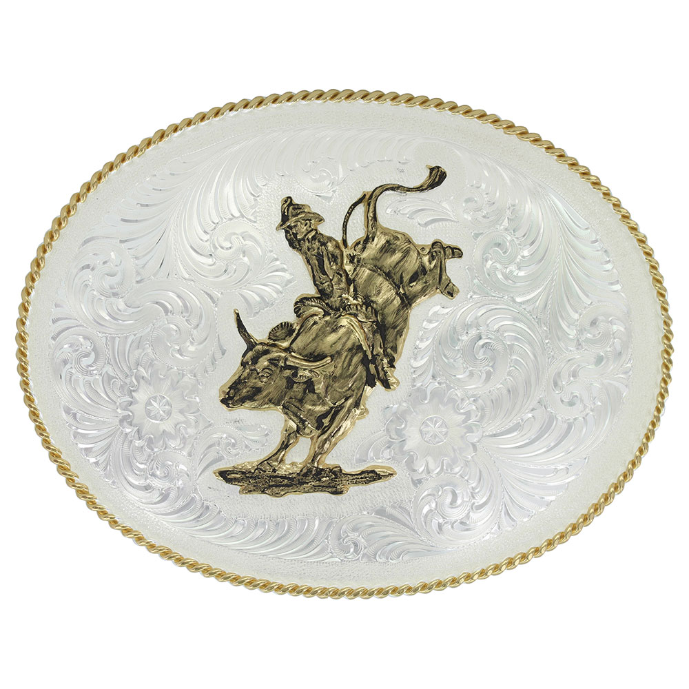 Large Silver Engraved Western Belt Buckle with Bull Rider