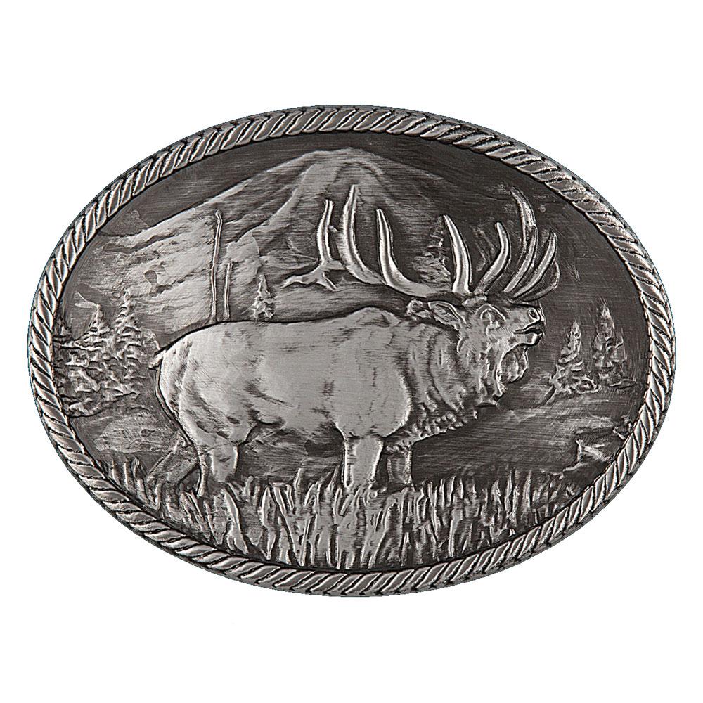 Gunmetal Outdoor Series Wild Elk Carved Buckle