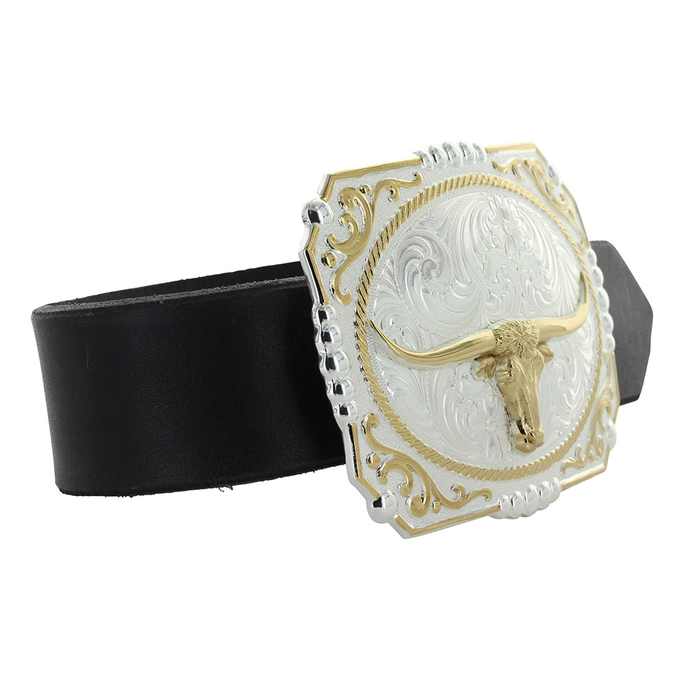 Two-tone Cowboy Cameo Buckle with Longhorn