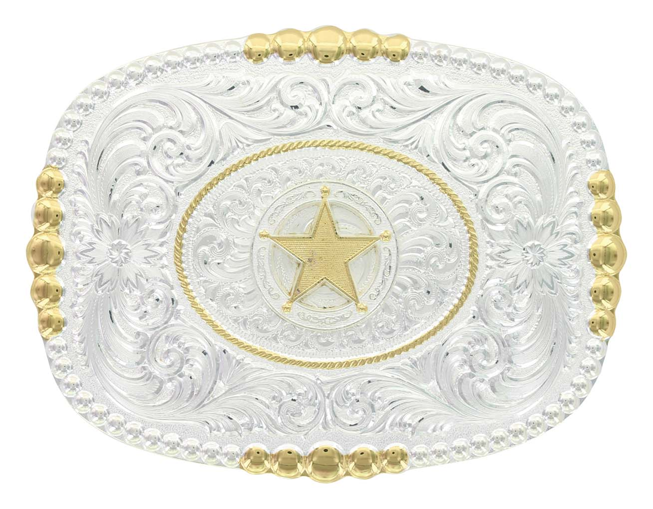 Two Tone Pioneer Portrait Buckle with Concho Star