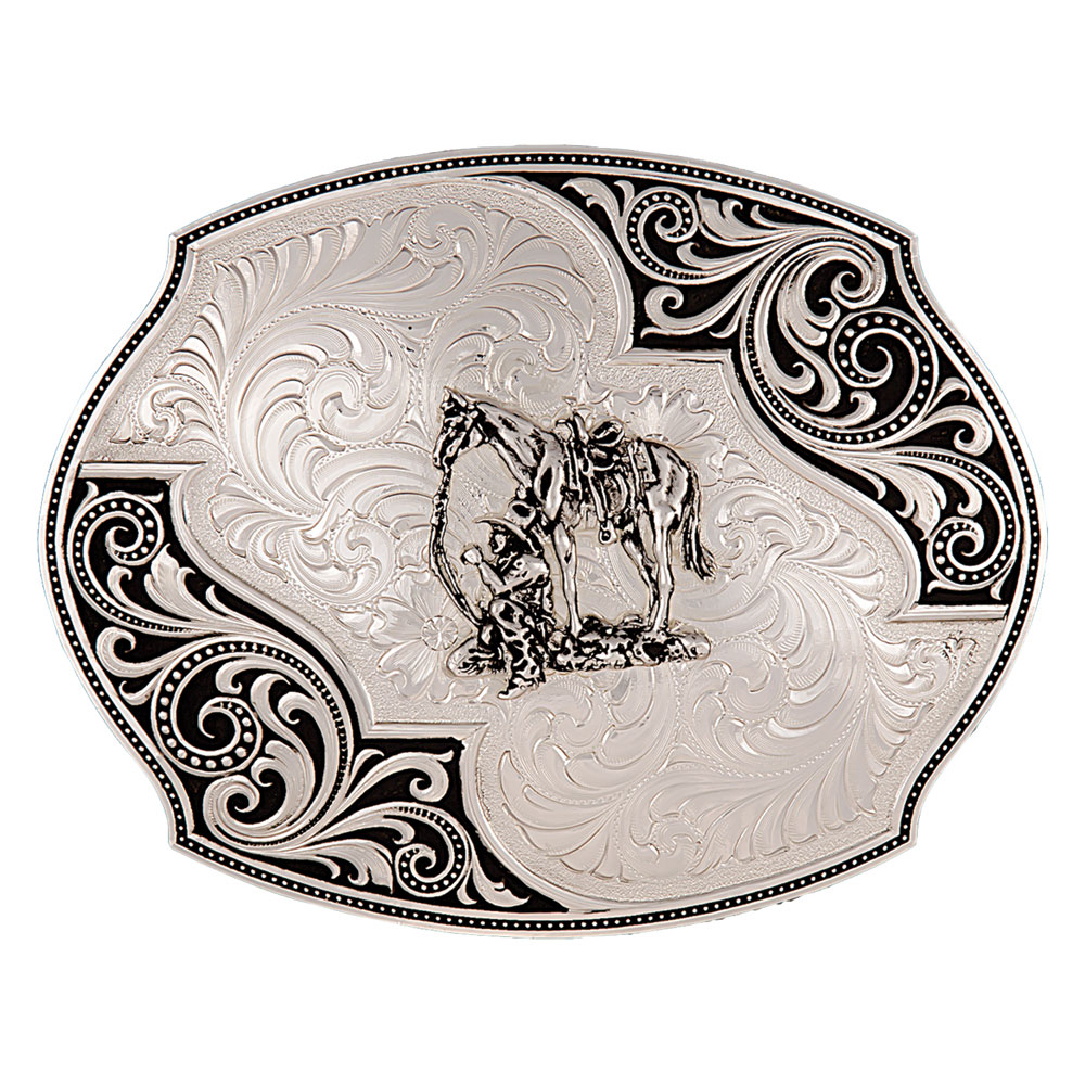 Western Lace Whisper Flourish Buckle with Cowboy and Horse