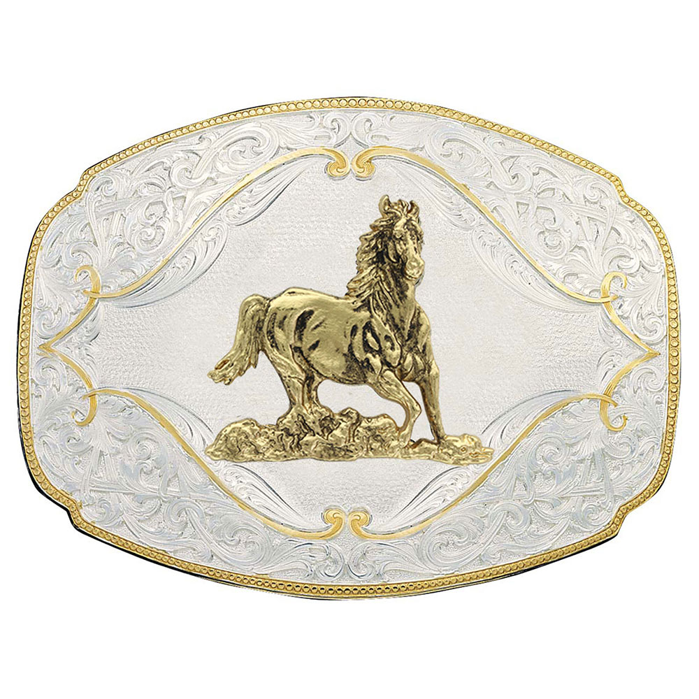 Gold Flourish Western Belt Buckle with Galloping Horse