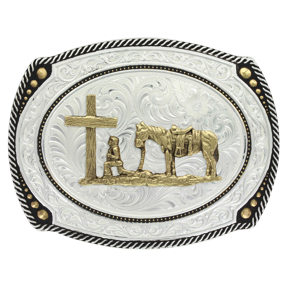 Large Cameo Roped Buckle with Christian Cowboy