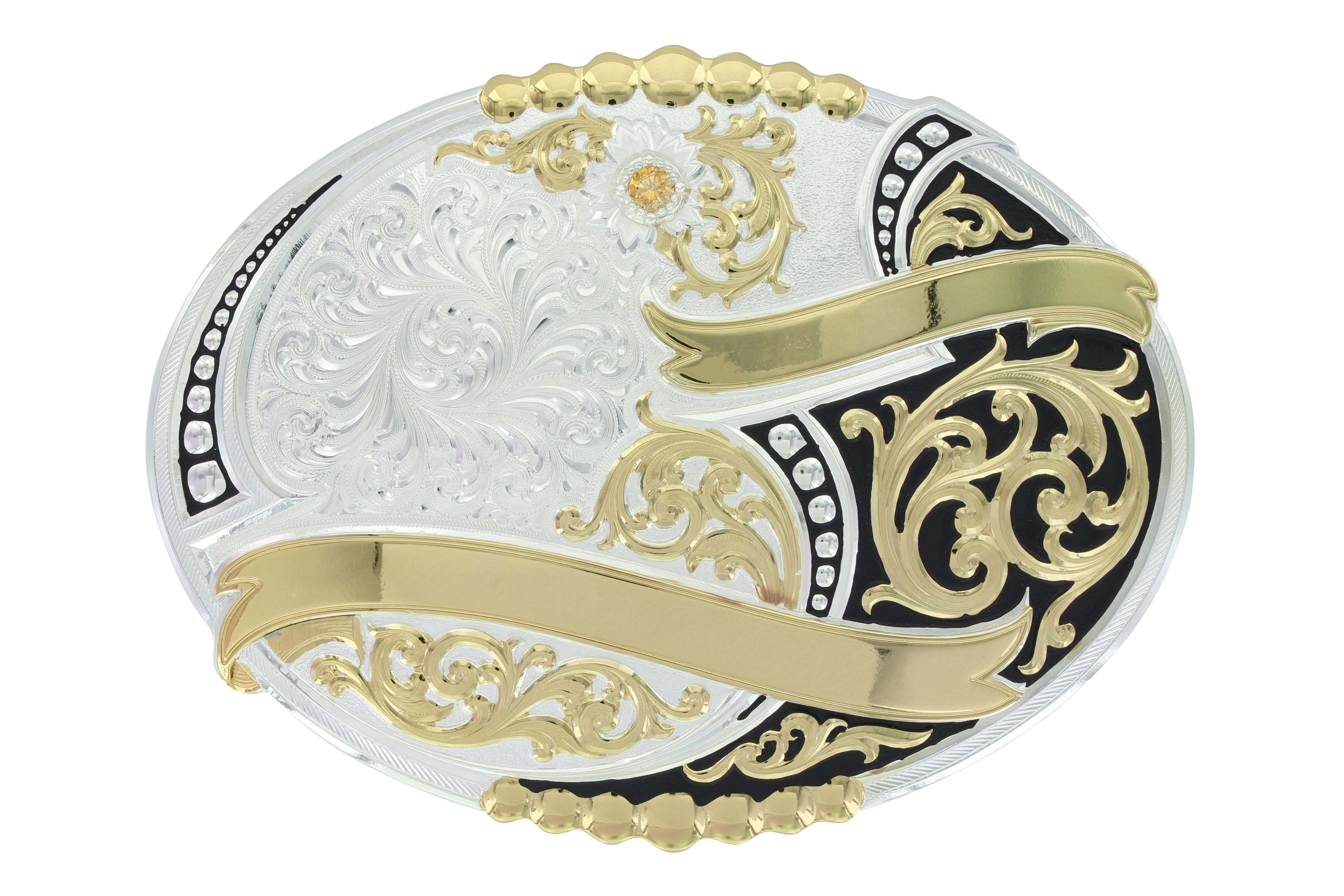 Sand Springs Two Tone Trophy Buckle