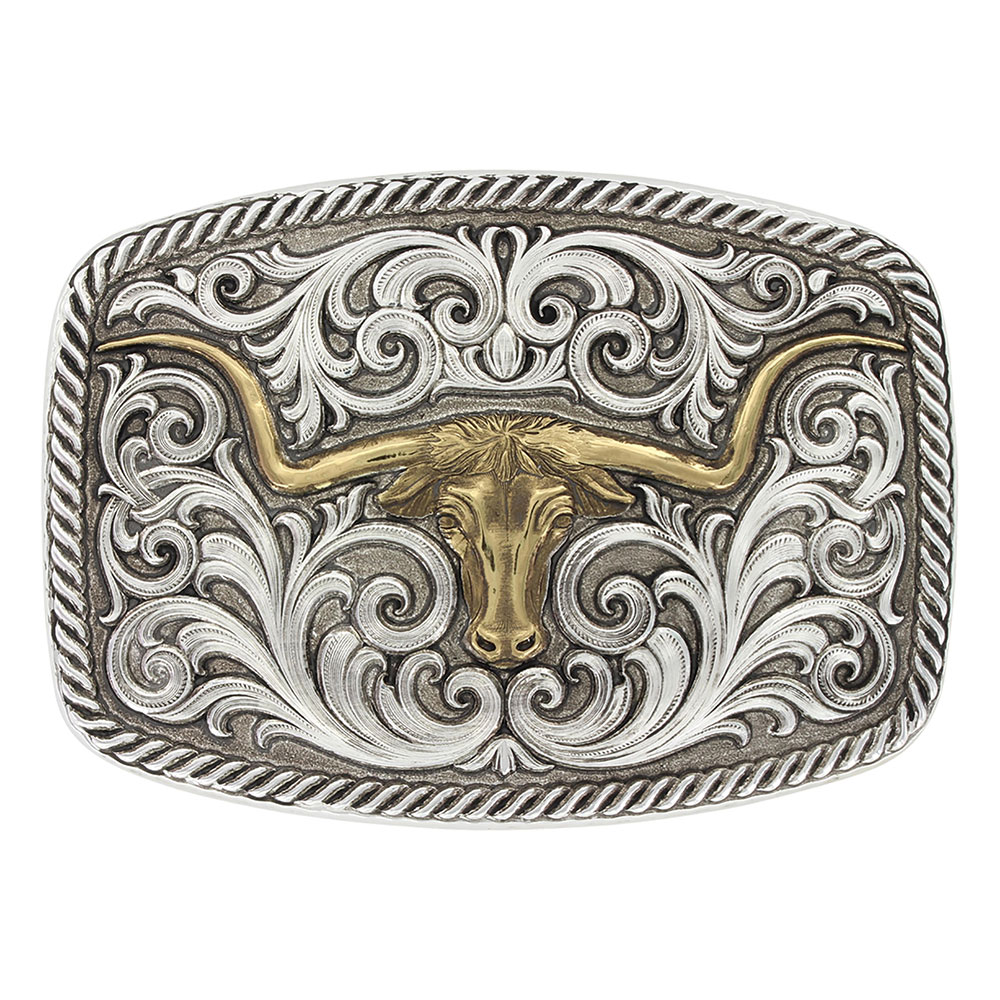 Antiqued Two Tone Champion Texas Longhorn Buckle