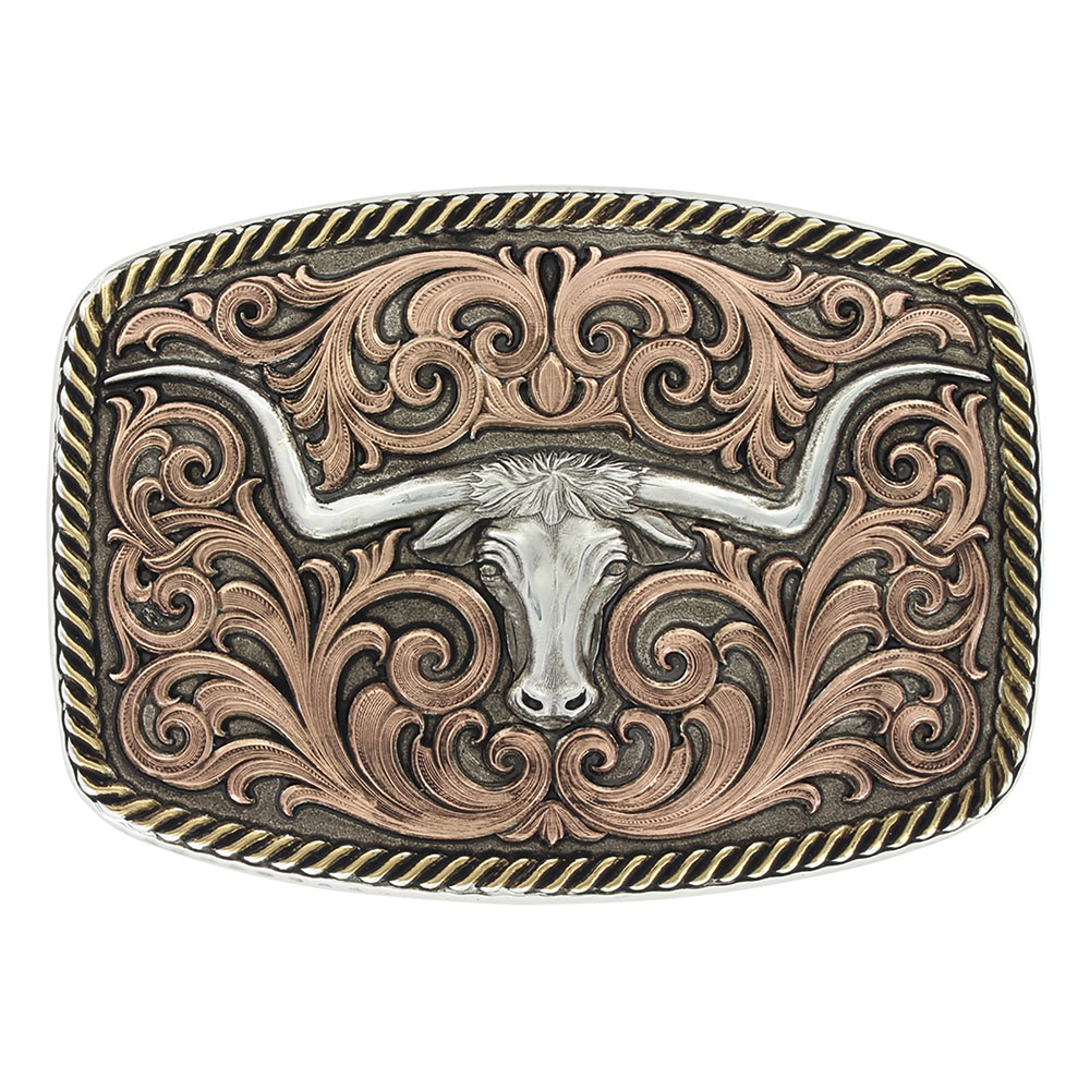 Tri-Color Champion Texas Longhorn Buckle