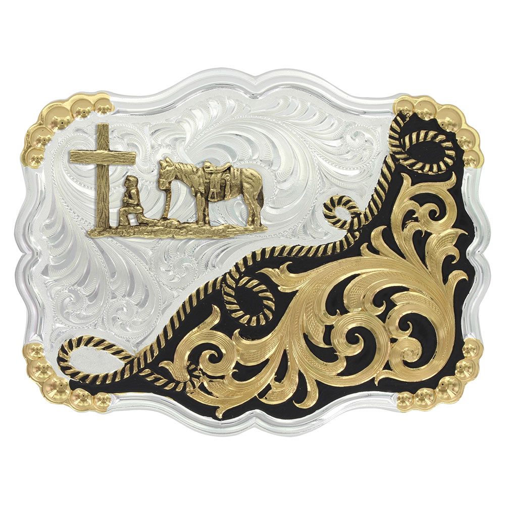 Two Tone Half-n-Half Rope Buckle with Christian Cowboy