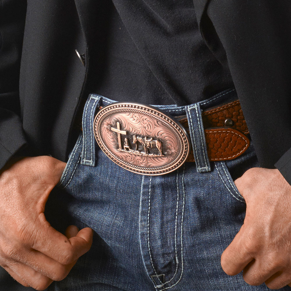Miner's Classic Oval Buckle with Christian Cowboy Figure