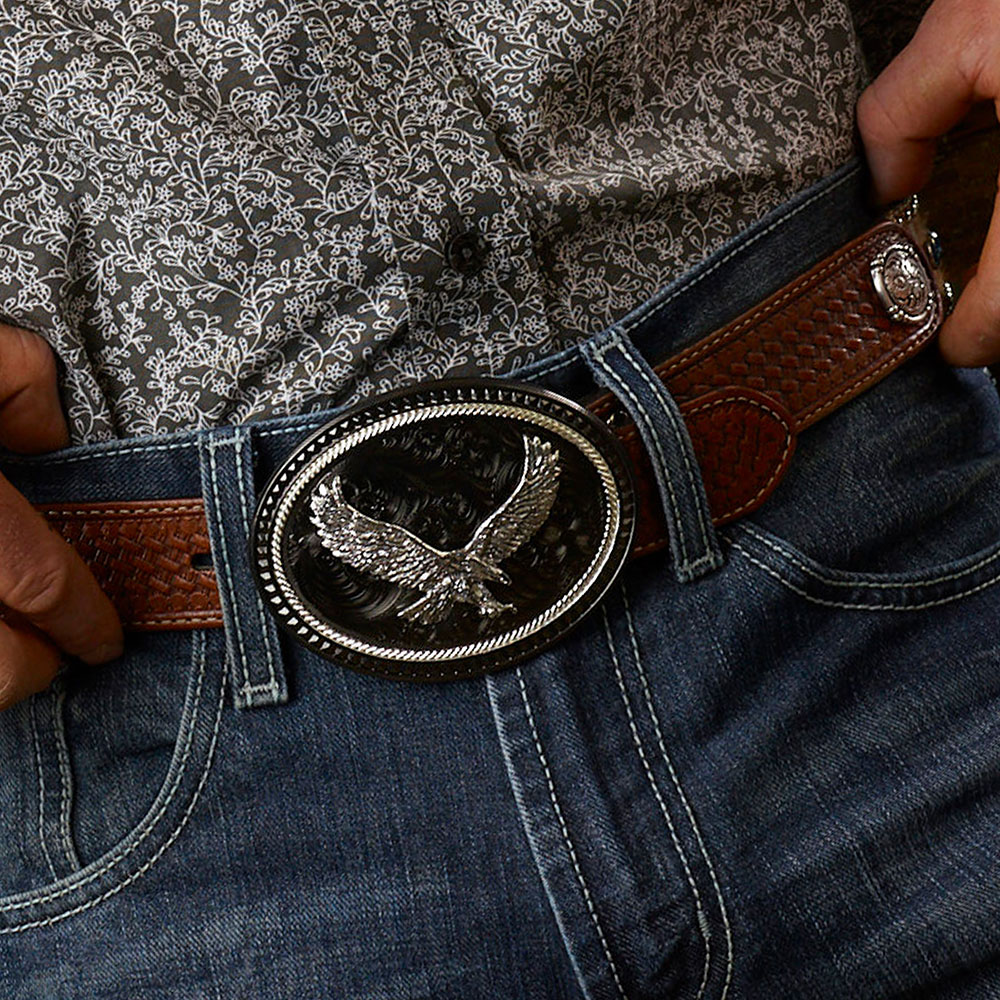 Silver Lining Gunmetal Oval Buckle with Soaring Eagle Figure