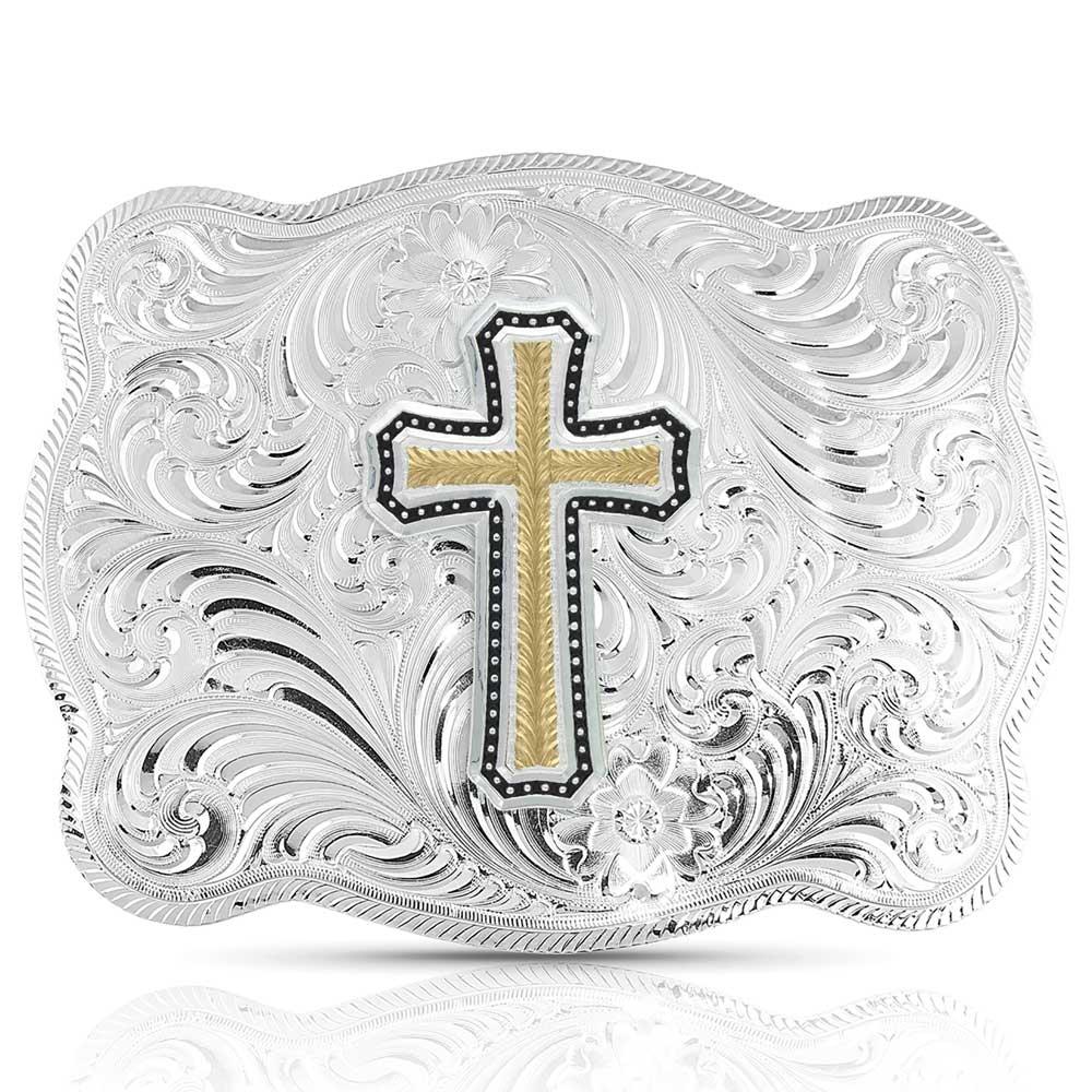 Simple Scalloped Silver Golden Faith Buckle