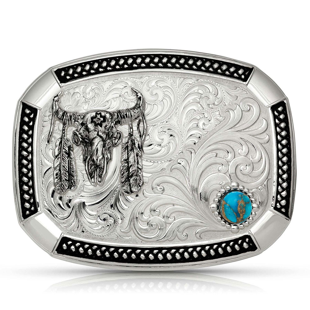 Wheatland Lake Turquoise Buckle with Ceremonial Buffalo