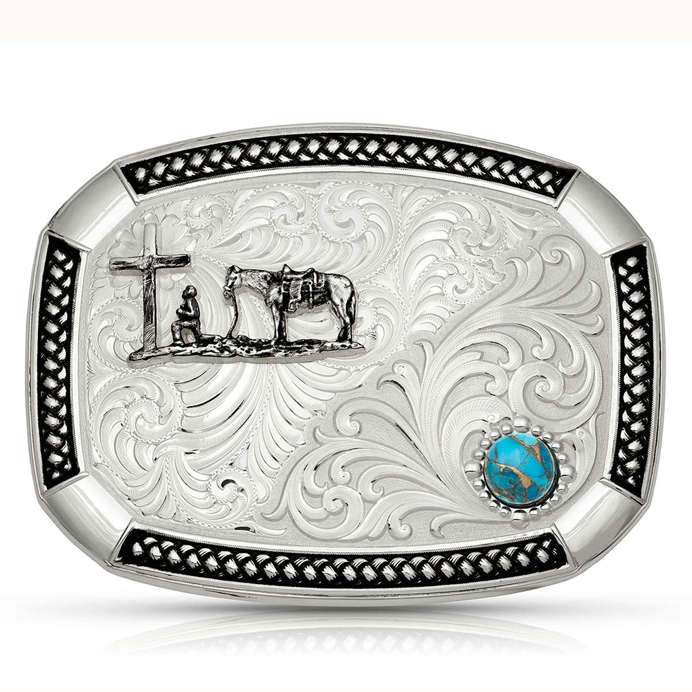 Wheatland Lake Turquoise Buckle with Christian Cowboy