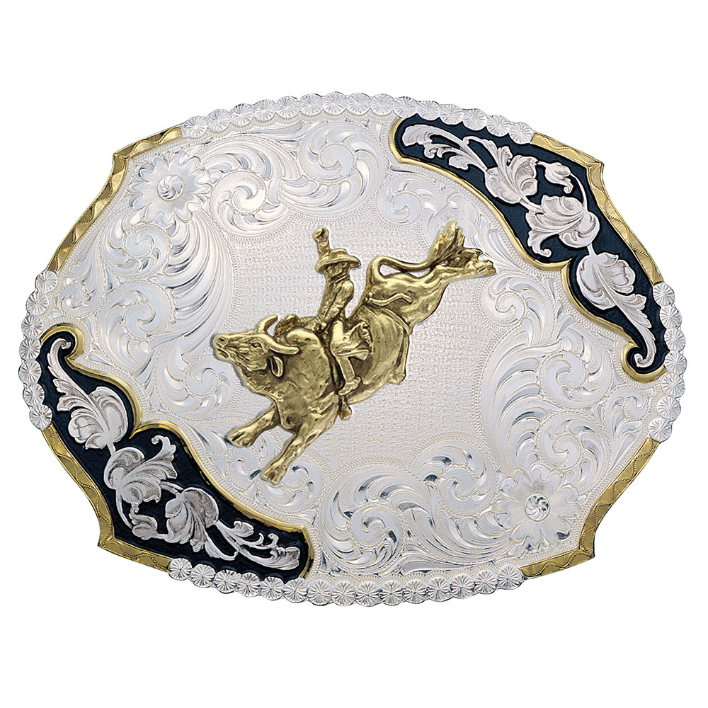 Antique Leaves Western Belt Buckle with Bull Rider