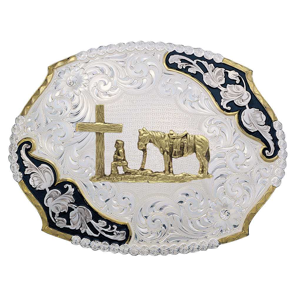 Antique Leaves Western Belt Buckle with Christian Cowboy