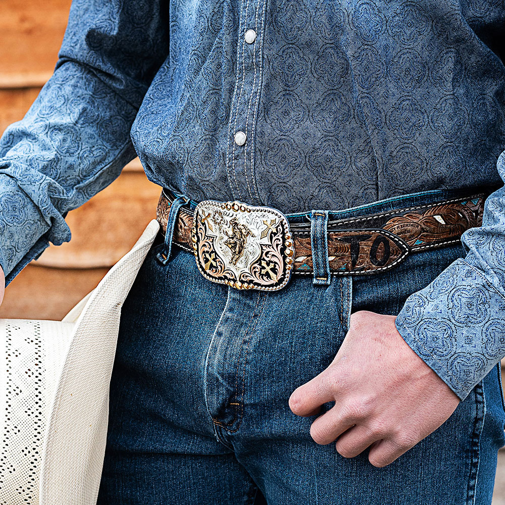 Faith in Four Buckle with a Bull Rider