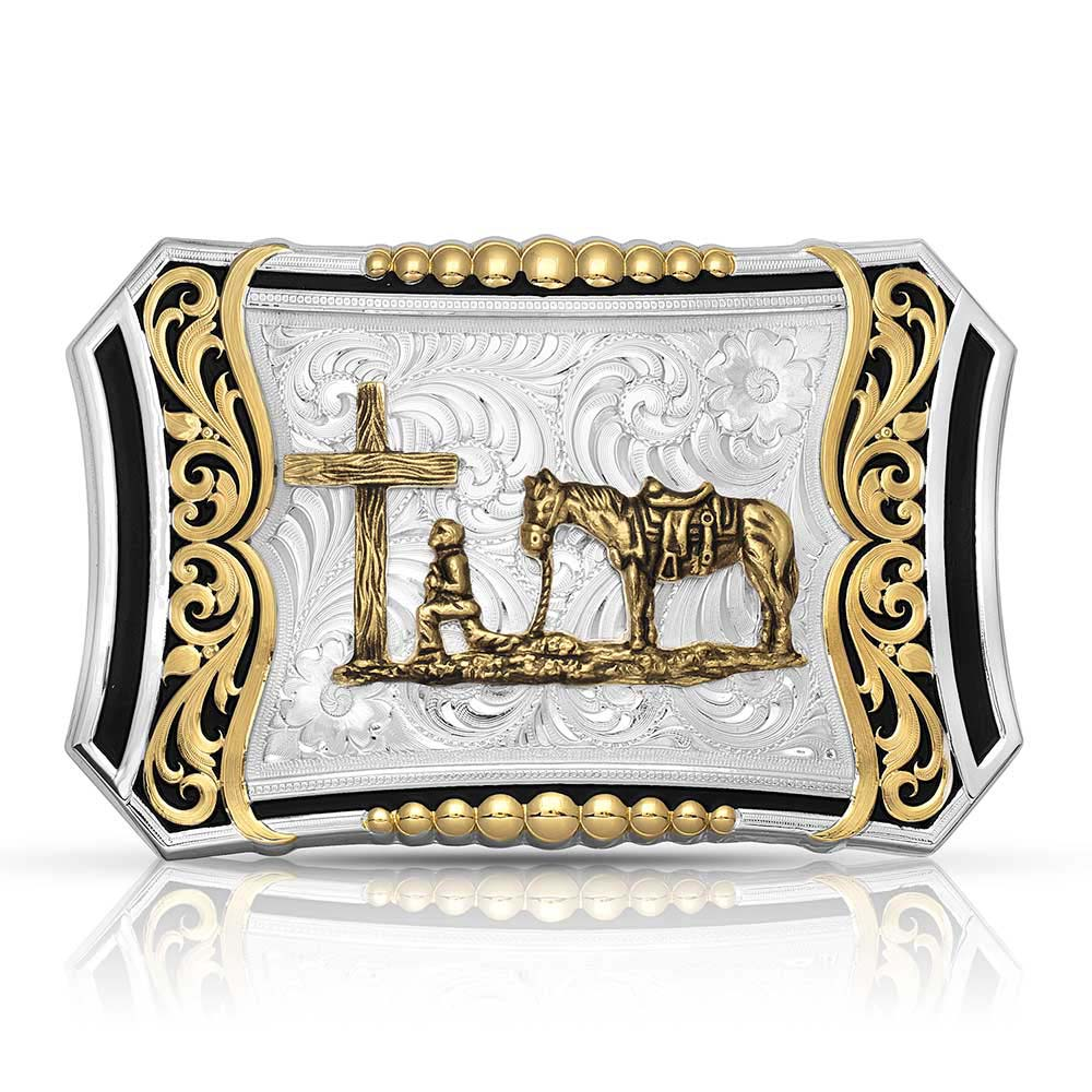 Two Tone Deep Roots Filigree Buckle with Christian Cowboy
