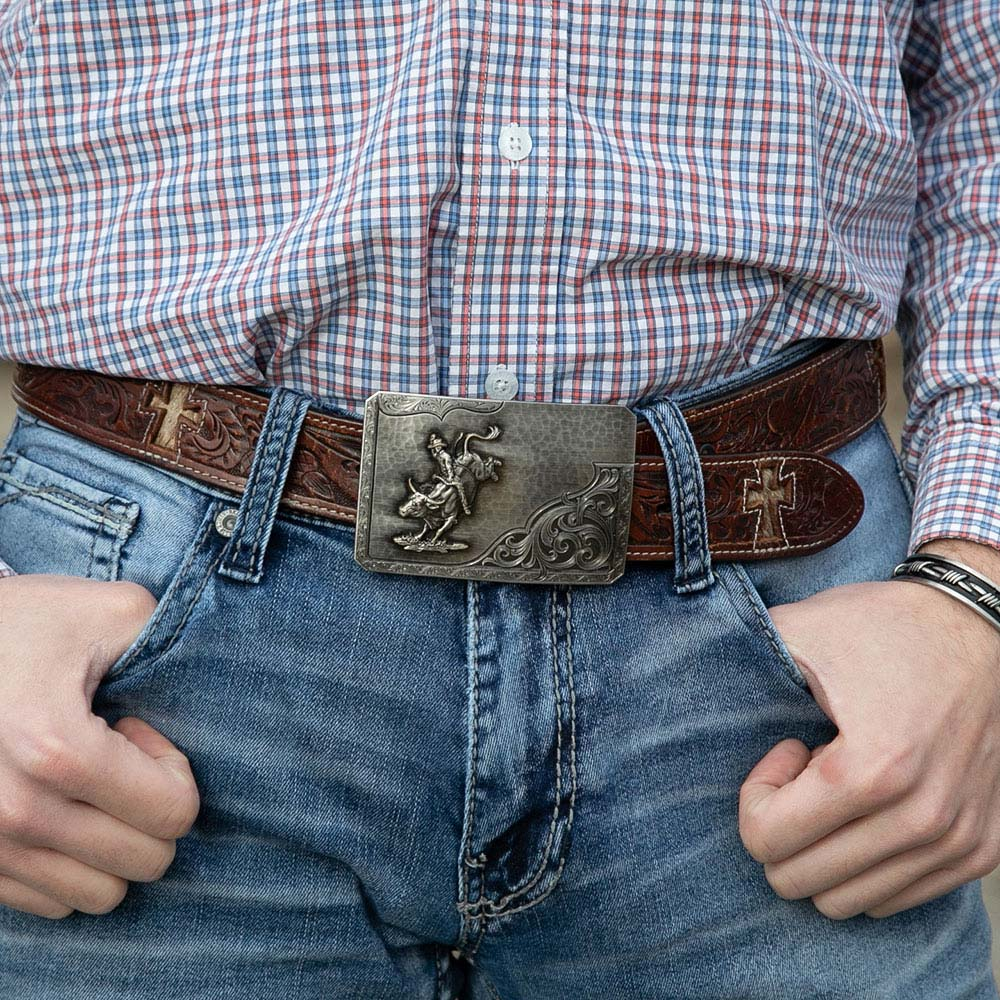 Stormy Rough Out with Bull Rider Buckle
