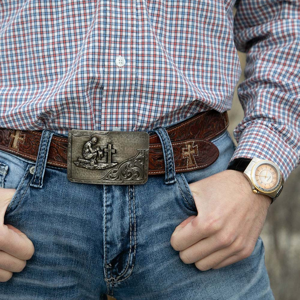 Stormy Rough Out with Praying Cowboy Buckle