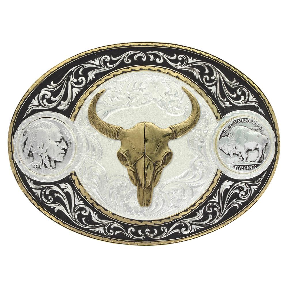 Buffalo Indian Head Nickel Western Belt Buckle with Buffalo Skull