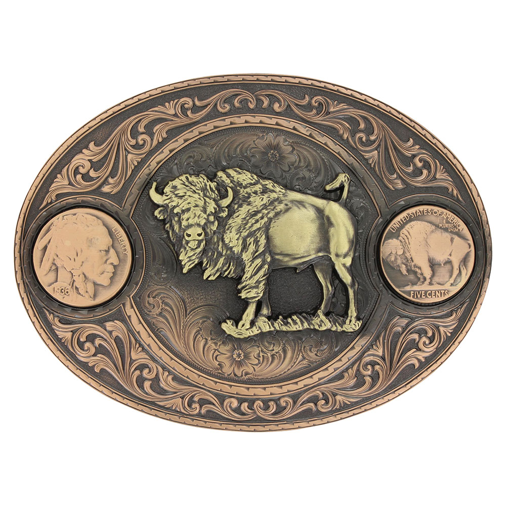 Miner's Buffalo Indian Head Nickel Belt Buckle with Buffalo