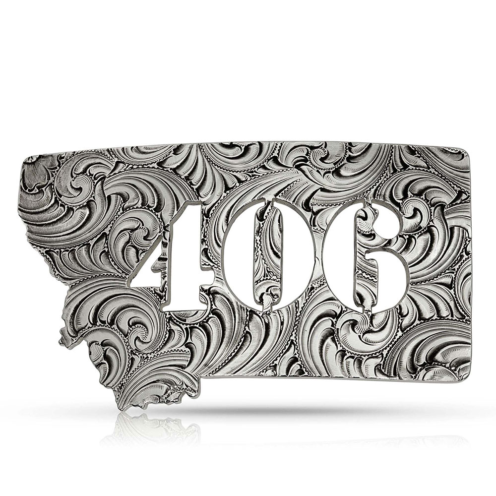 Antiqued Montana 406 State Buckle