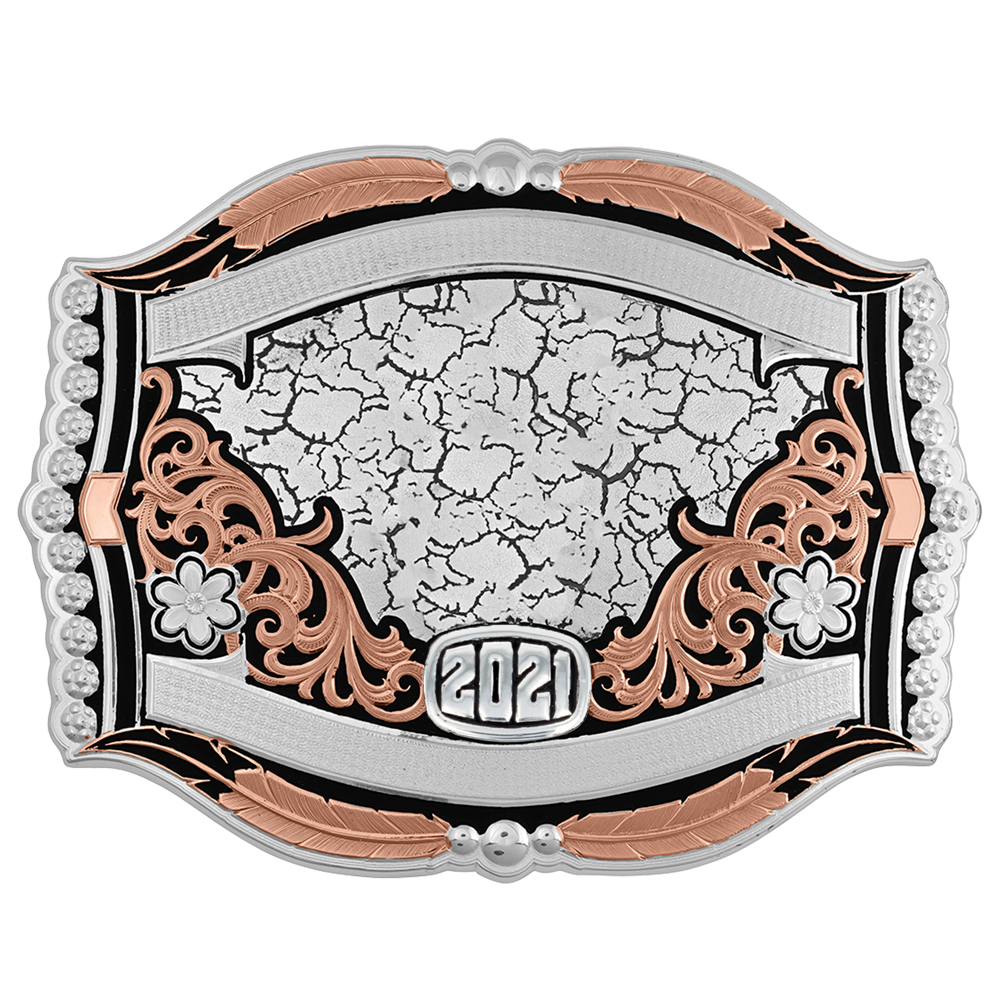 Cracked Earth Rose Trophy Buckle