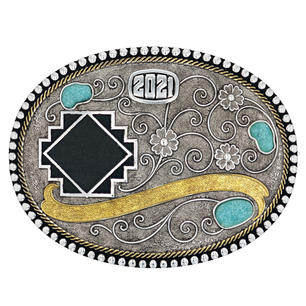 Along The Country Road Turquoise Trophy Buckle