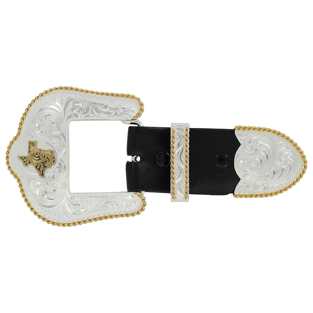 Texas State Silver Engraved Gold Trim 1.5