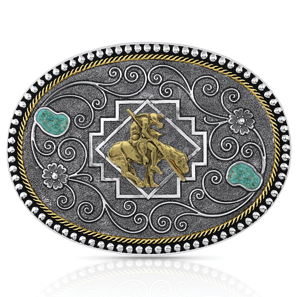 Country Roads Turquoise Buckle with End of Trail