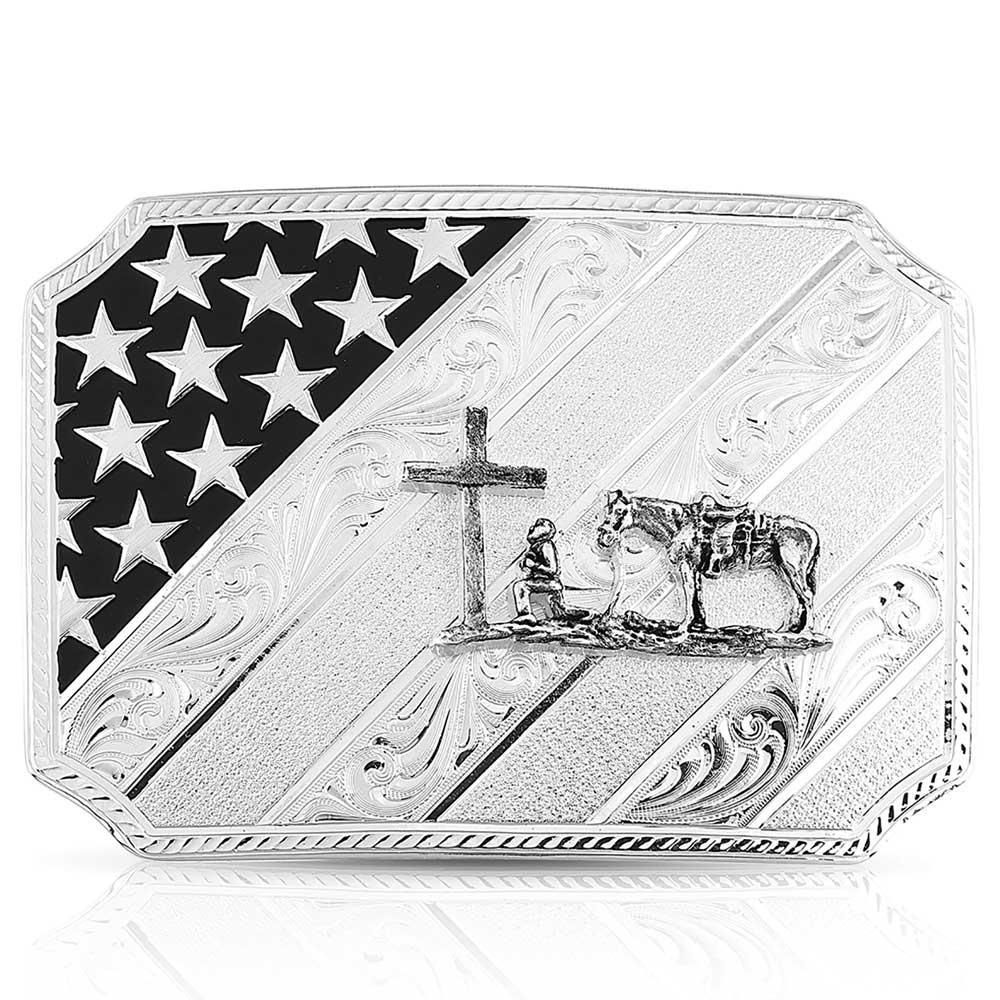 All American Christian Cowboy Silver Buckle