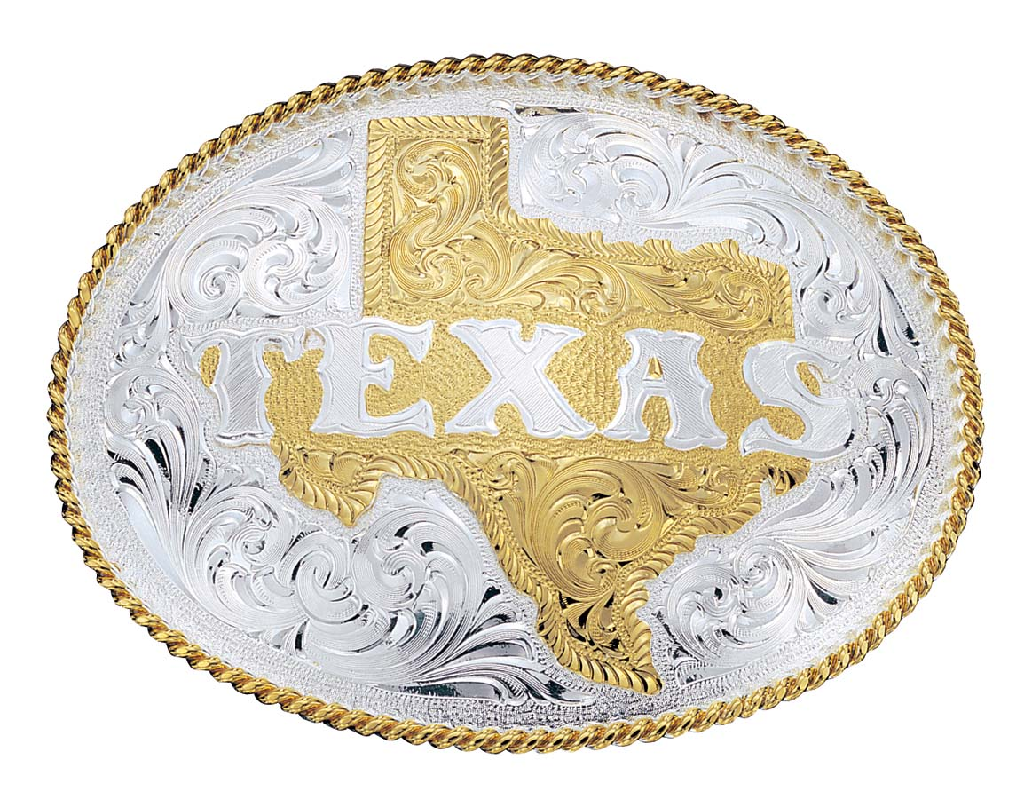 Silver Engraved Western Belt Buckle with Etched State of Texas