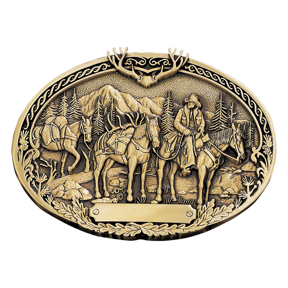 Pack Horses and Rider Brass Heritage Attitude Belt Buckle