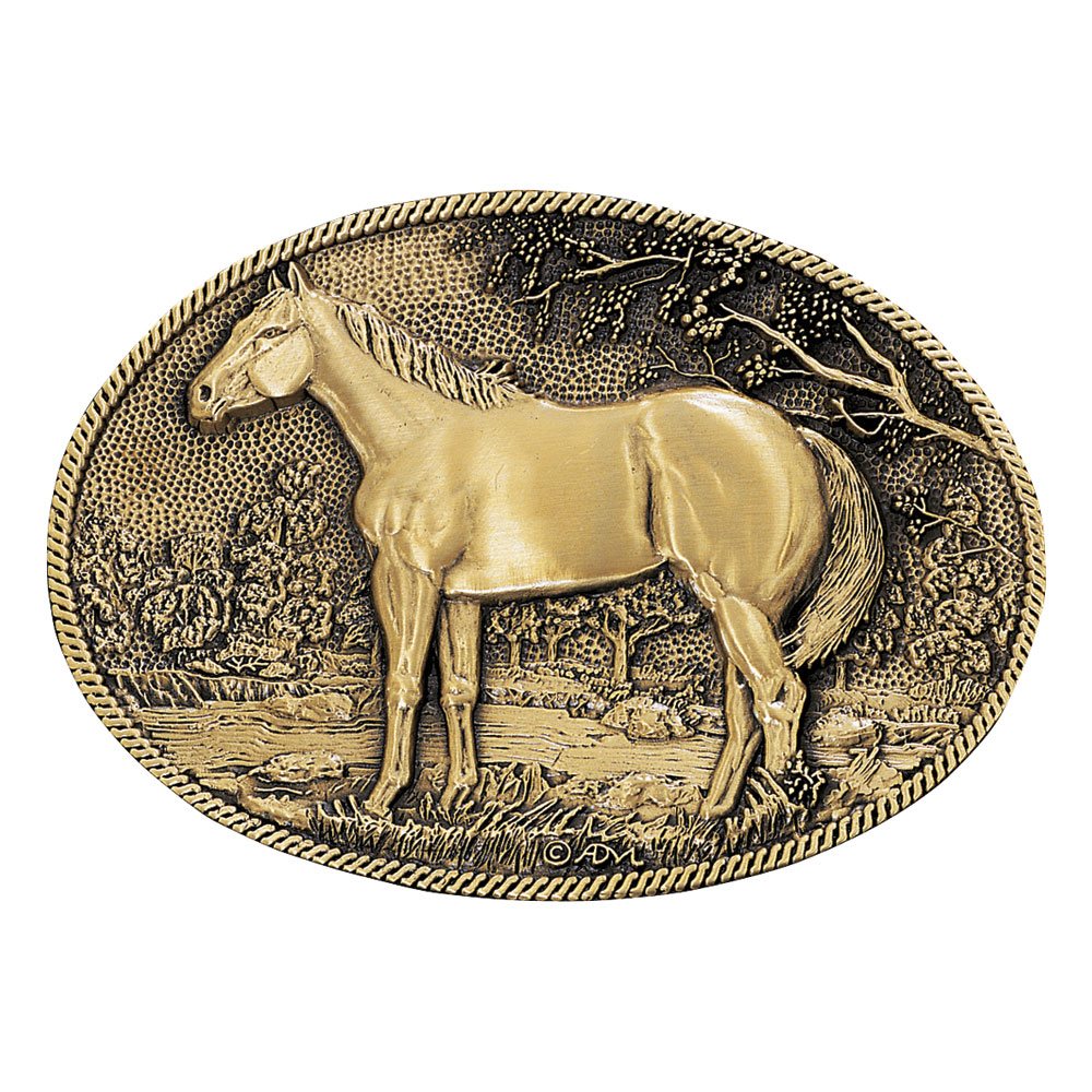 Standing Horse Profile Heritage Attitude Belt Buckle