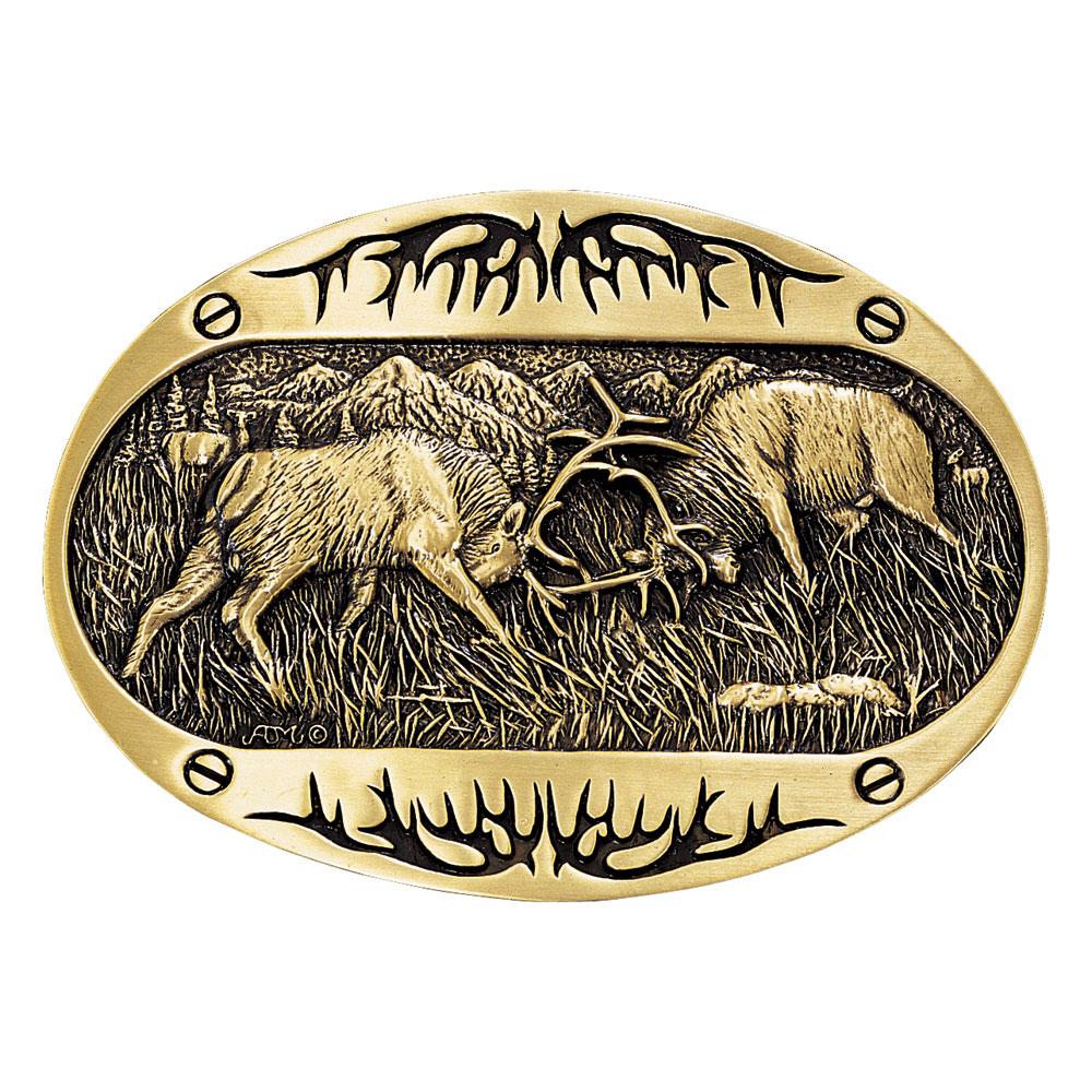 Fighting Elk Brass Heritage Attitude Belt Buckle