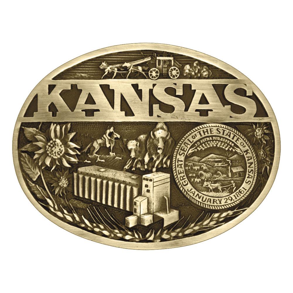 Kansas State Heritage Attitude Buckle