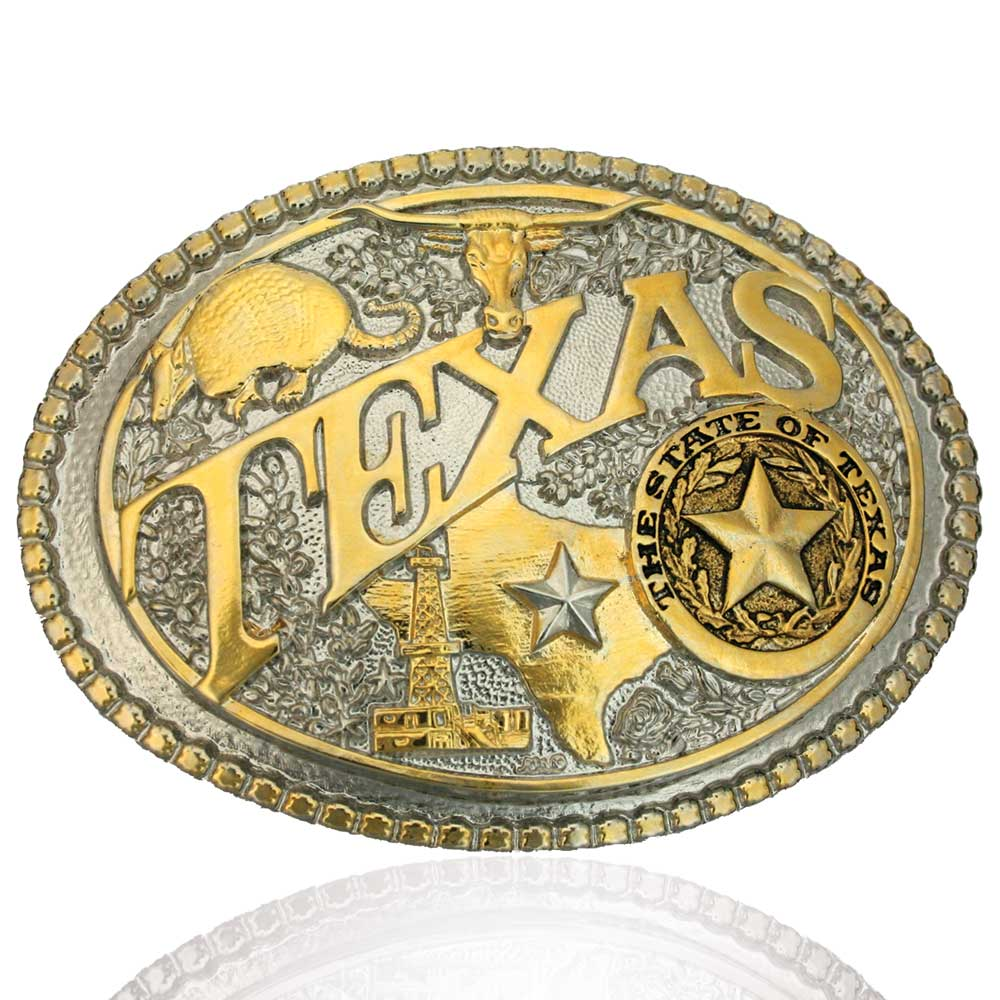 Two-Tone Texas State Heritage Attitude Buckle