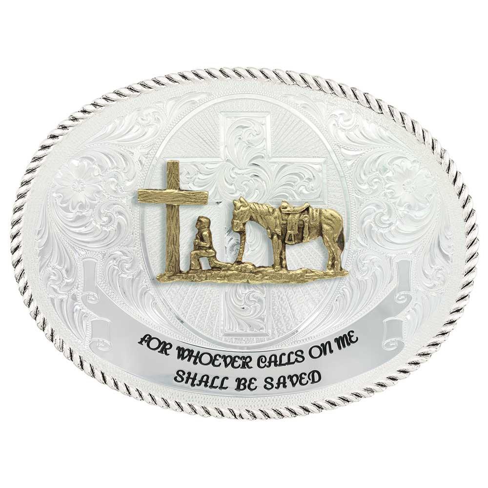 Faith and Wisdom Western Belt Buckle with Christian Cowboy
