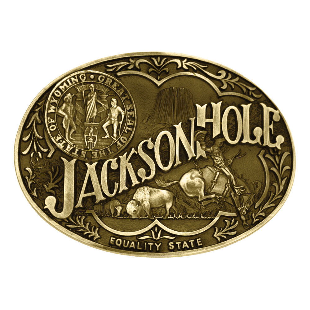 Jackson Hole Wyoming State Heritage Attitude Buckle
