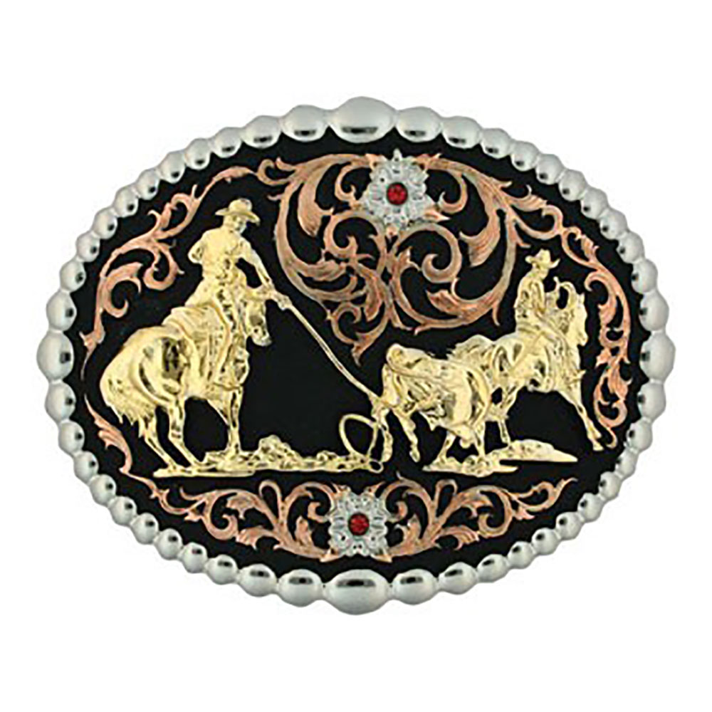 Tri Color Team Roper Attitude Belt Buckle