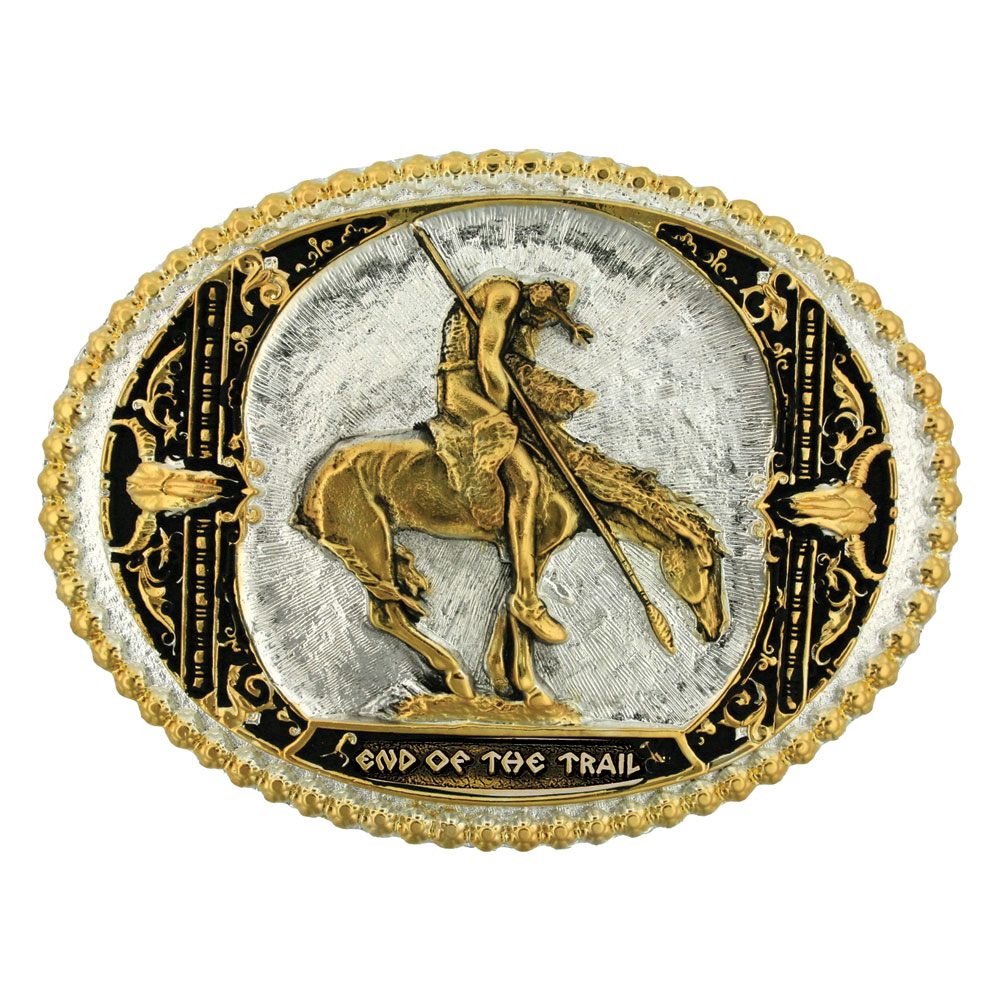 End of the Trail Two Tone Attitude Belt Buckle