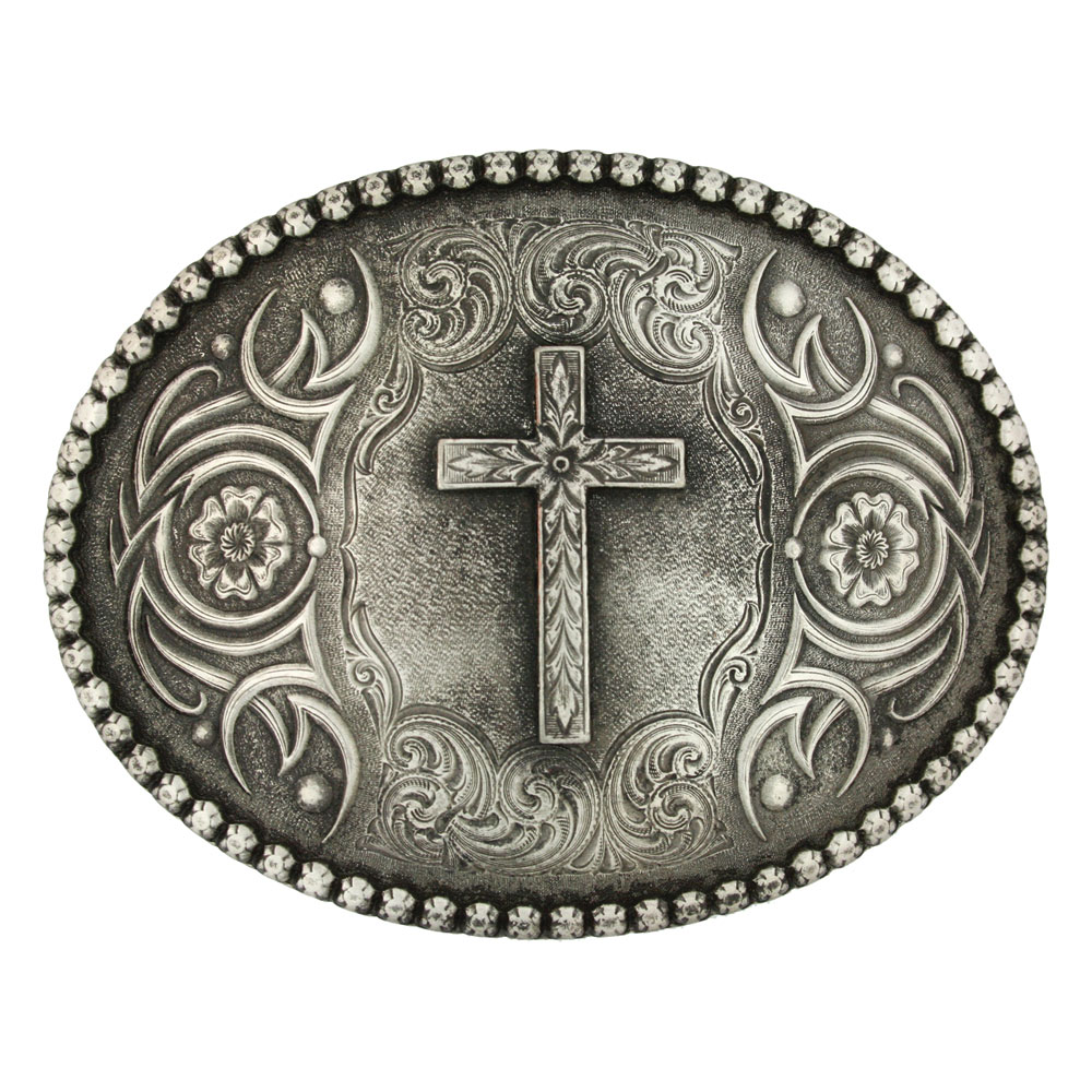 Floral Cross Classic Antiqued Attitude Belt Buckle