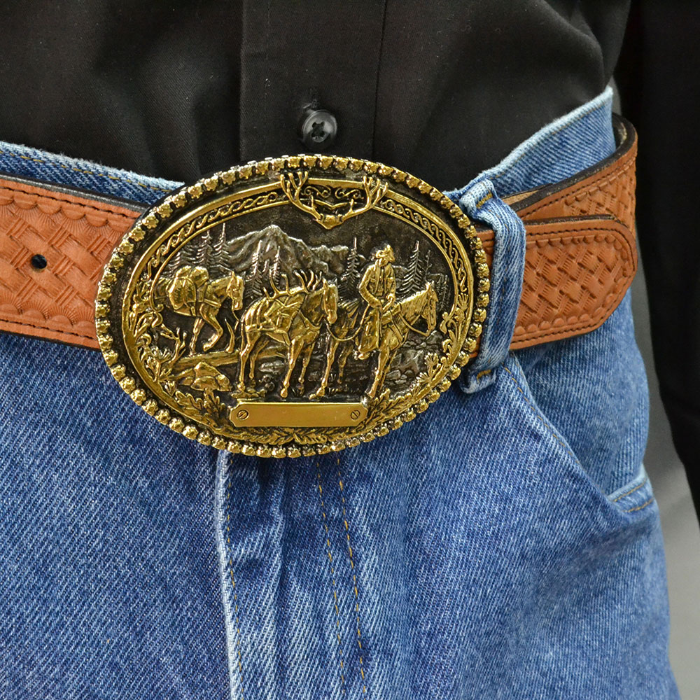 Pack Horses and Rider Two Tone Attitude Belt Buckle