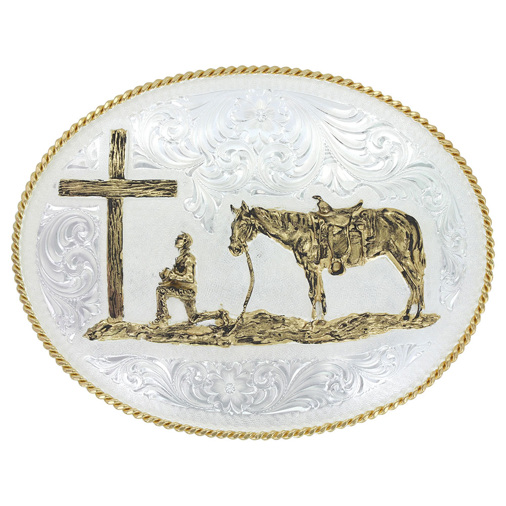 Large Silver Engraved Western Belt Buckle with Christian Cowboy