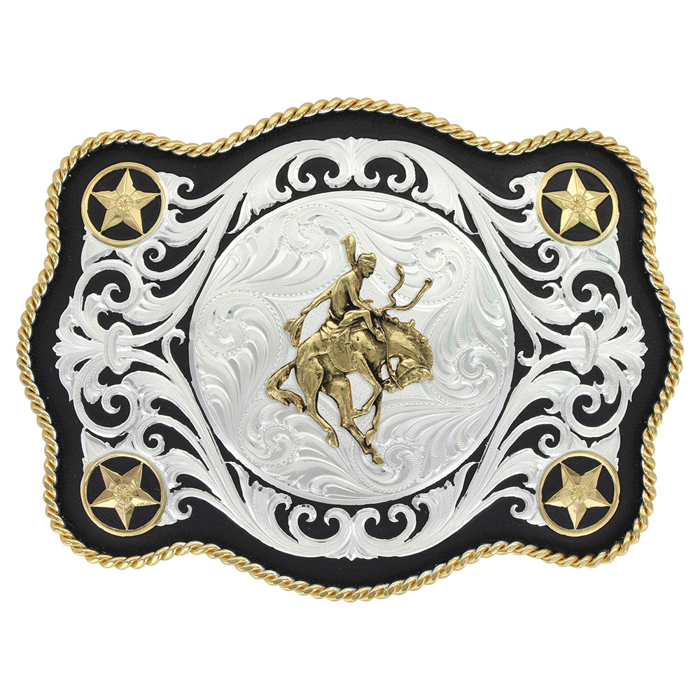 Scalloped Sheridan Style Western Belt Buckle with Bronc Rider