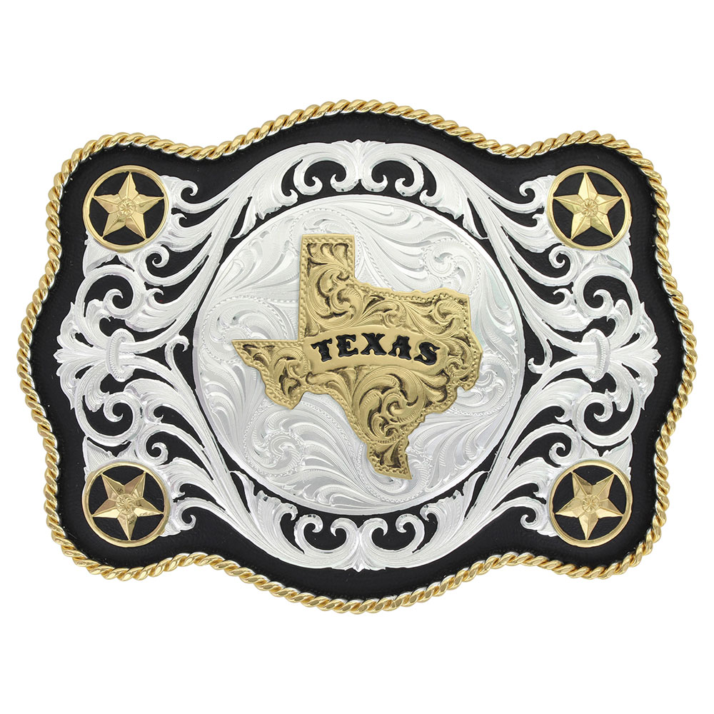 Scalloped Sheridan Style Western Belt Buckle Texas State